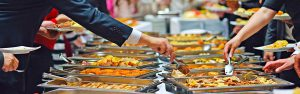 Buffet style catering image showing chaffing dishes
