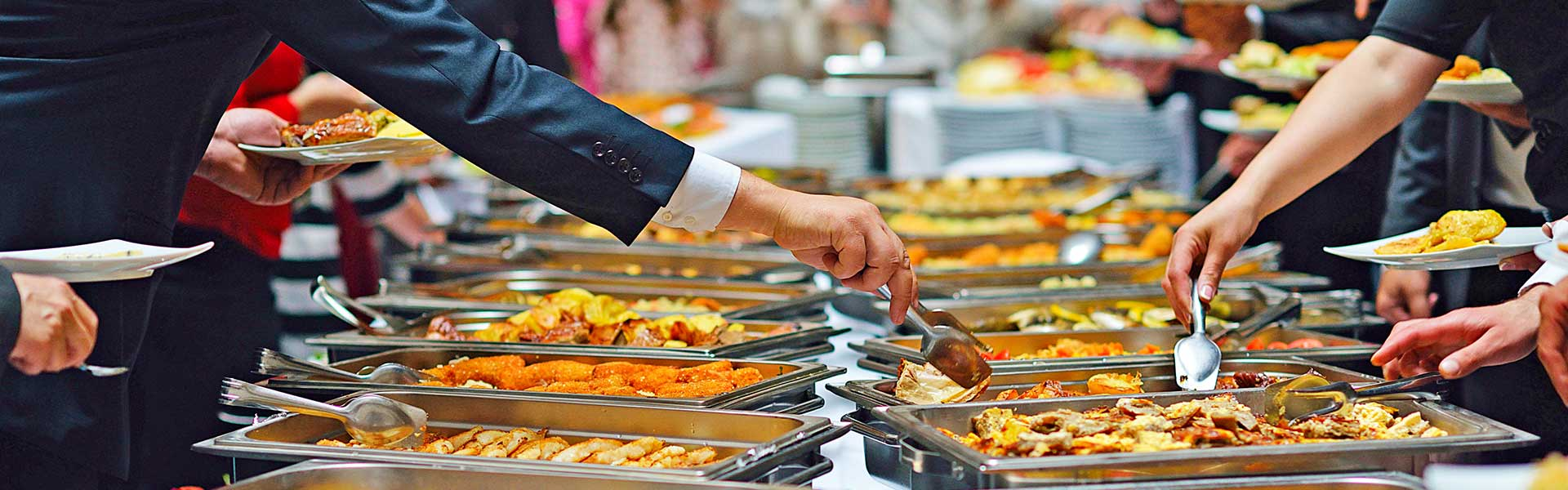Buffet style catering image showing chaffing disshes