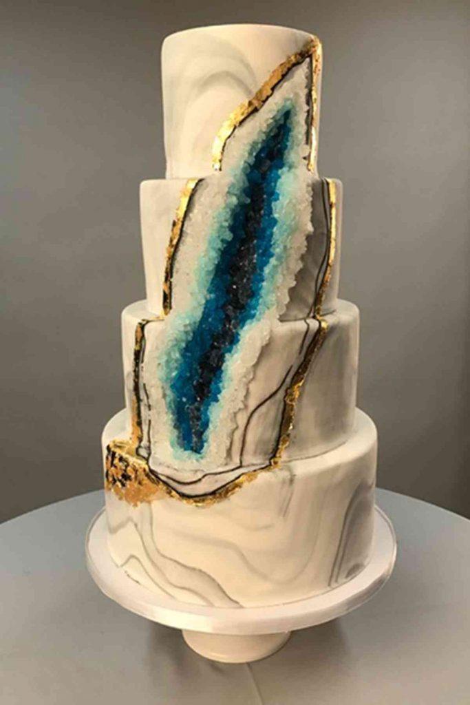 Wedding Cake with blue geode design